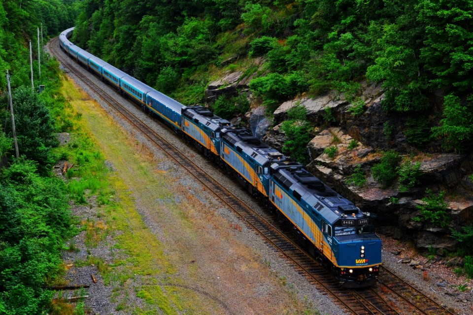 A Via Rail train arrives in Halifax on Monday afternoon. Halifax's transportation committee will get a first look Thursday at Via Rail's proposal for a commuter rail service. (TED PRITCHARD / Local Xpress