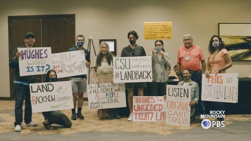 land back signs