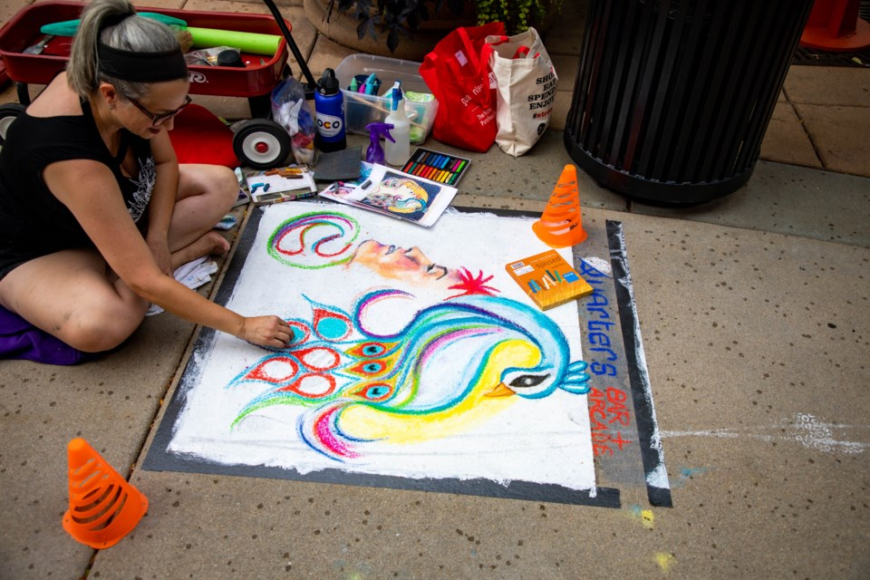 The afternoon started off well, with a couple solid hours of chalk art before the rain came down.