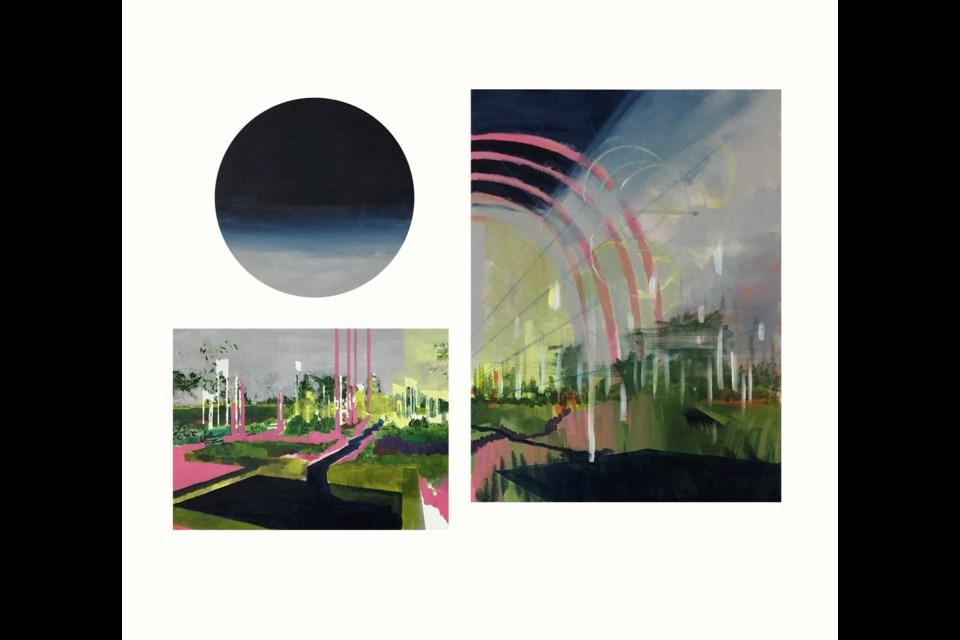 Rainbows - work in progress acrylic on canvas 26inx35in