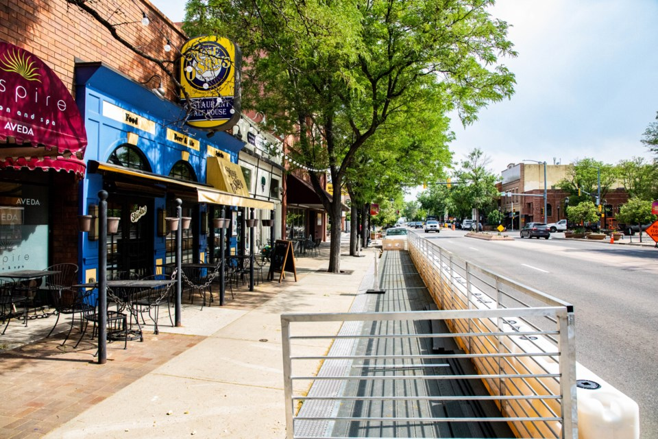 The parklets are coming in downtown to provide businesses with more outdoor seating.