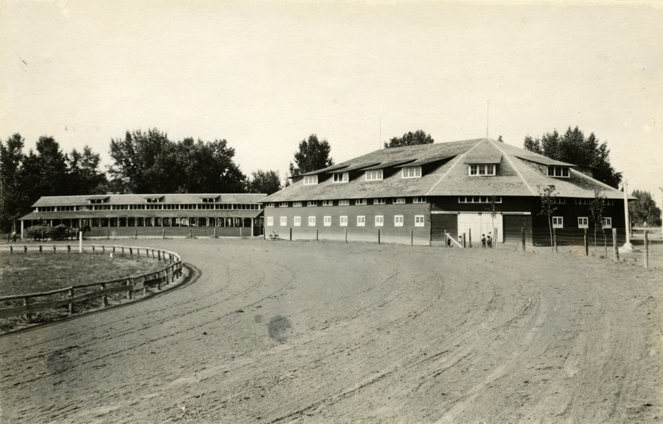 Roosevelt Park racetrack and barns