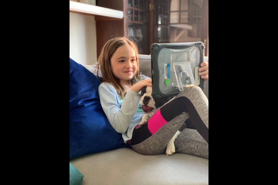 Eloise Gilligan, second grader at Central Elementary School in Longmont, learning from home | Courtesy photo