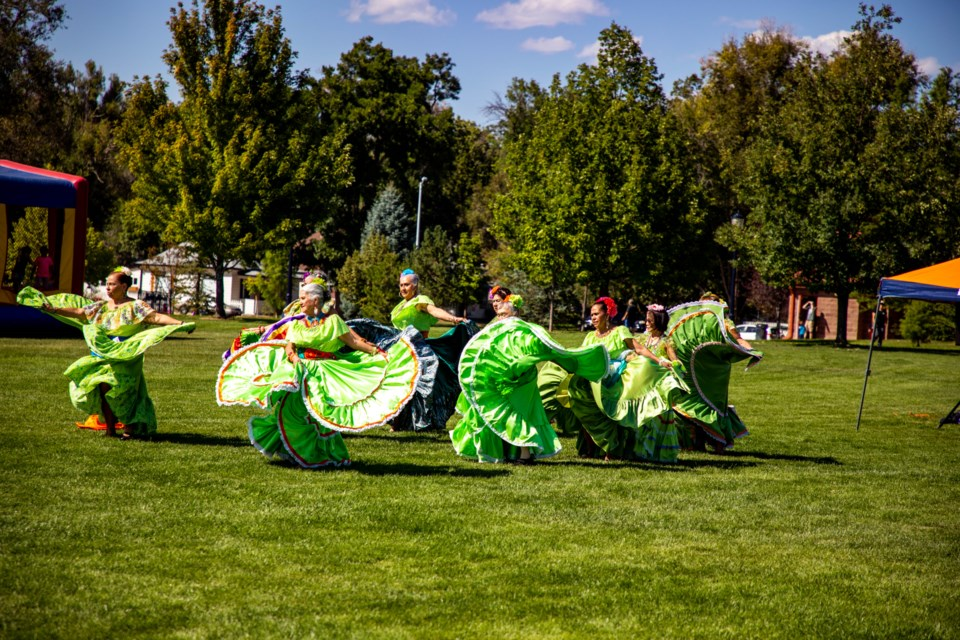 The Latino Chamber of Commerce of Boulder County, along with representitives of Boulder County, city of Longmont and local businesses, gathered in Roosevelt Park to kick off Latino Business Month with a fiesta