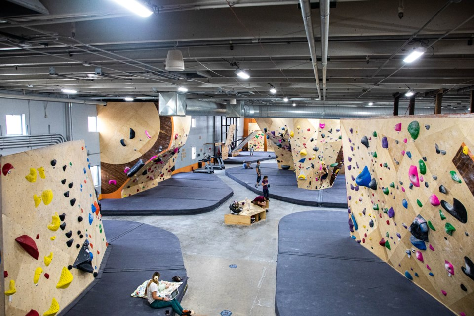 The interior of Longmont Climbing Collective, as seen from the upper mezzanine.