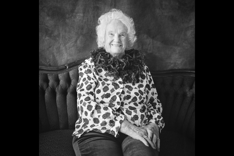 Margaret Caldwell (98) poses for her portrait