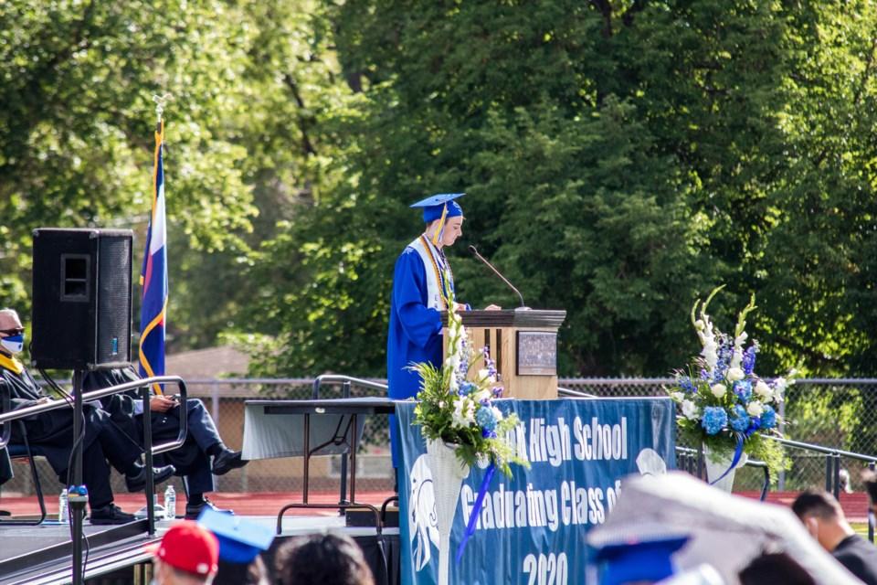 Luka Capaldi speaks during the Longmont High School graduation ceremony on July 25, 2020. (Photo by Matt Maenpaa)