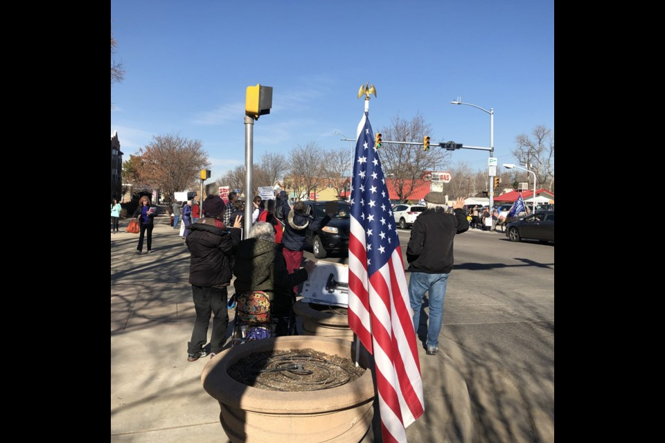 Longmont Leads with Love vigil which was counter protested by a fairly large group of Second Amendment/Trump folks on Saturday, January 25, 2020. Photo by Craig Stevens