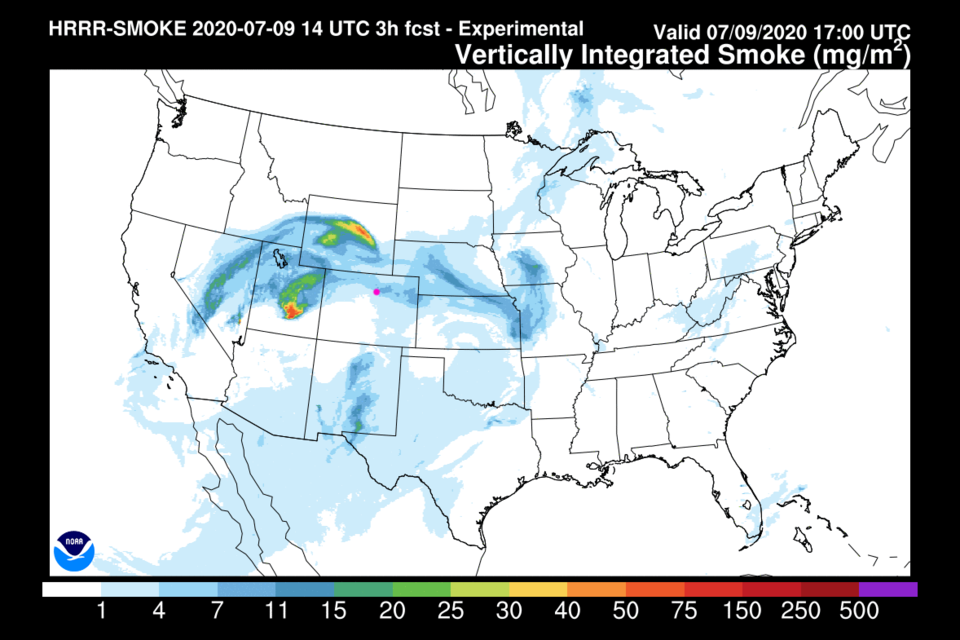 Figure 1: the HRRR smoke forecast for Thursday from NOAA