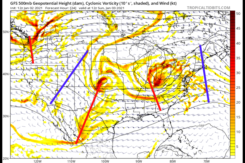 Figure 1: the 500mb upper air forecast map for Sunday AM from the GFS and tropicaltidbits.com