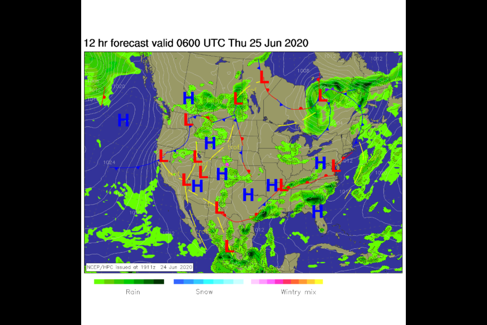 Figure 1: the surface analysis for the U.S. from NCEP for early Thursday morning.