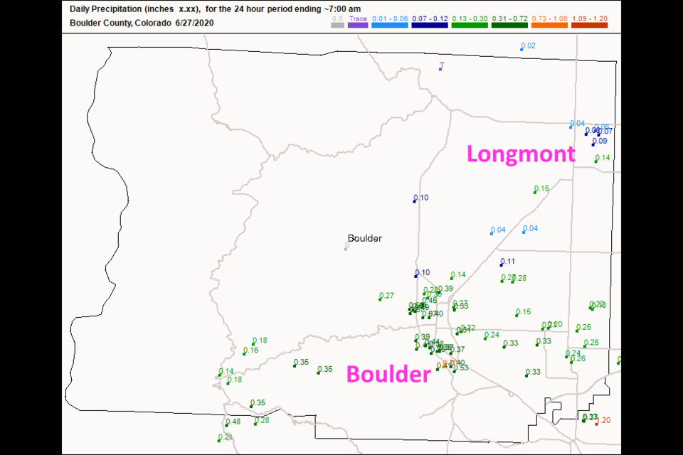 Figure 1: the rainfall totals ending 7am Saturday from CoCoRaHS.