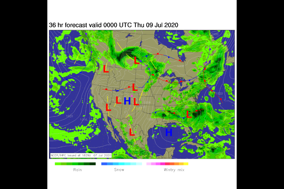 Figure 1: the surface analysis map for Wednesday PM from NCEP.