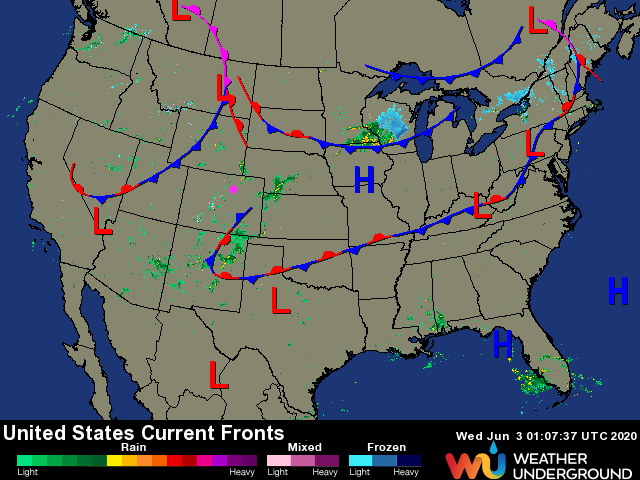 Figure 1: the surface feature analysis from Friday PM from weatherunderground.com
