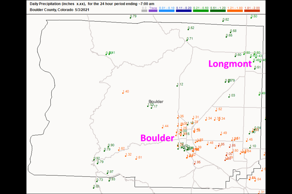 Figure 2 update: the rainfall reports as of 7am Monday (rainfall fell all day- after this) from CoCoRaHS.