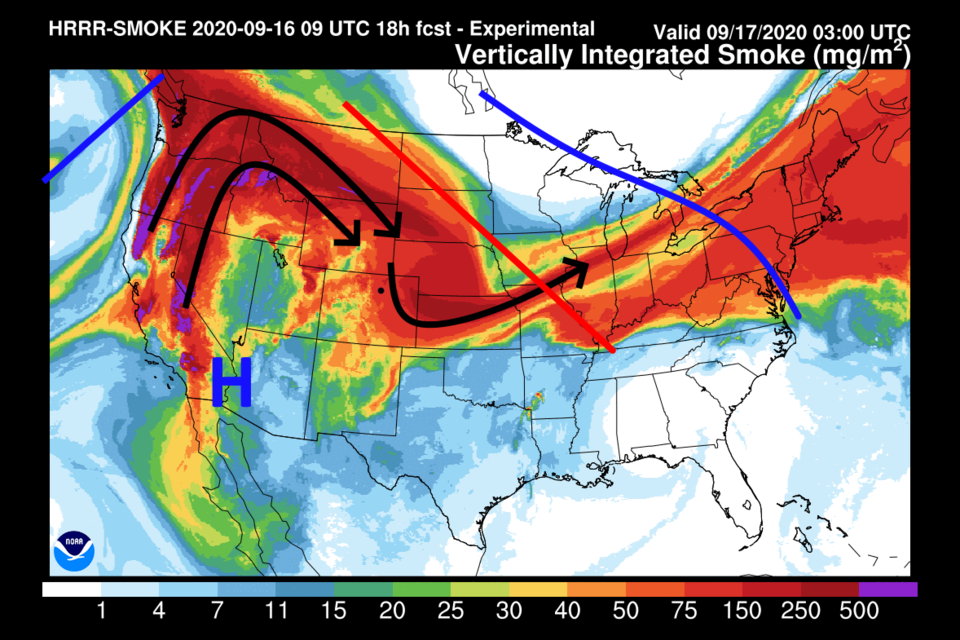 Figure 3: the HRRR forecast of smoke at all  levels for Thursday morning from NOAA.