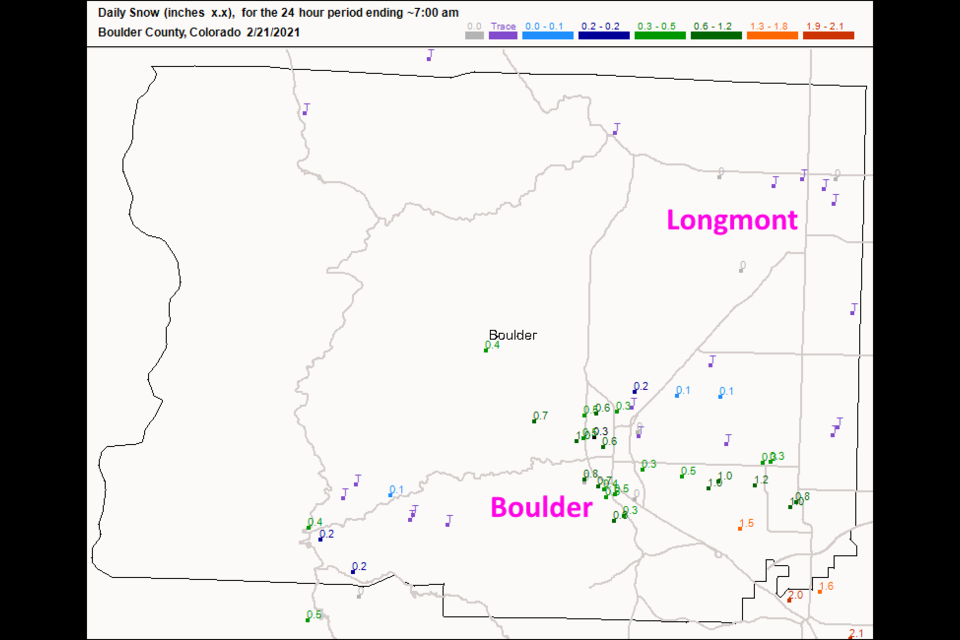 Figure 3 update: the snowfall reports as of 7am Sunday from CoCoRaHS.