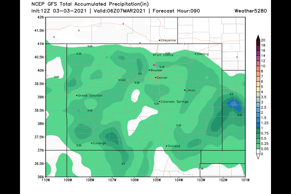 Figure 3 update: the 48 hour total precipitation total from the GFS and wether5280.com