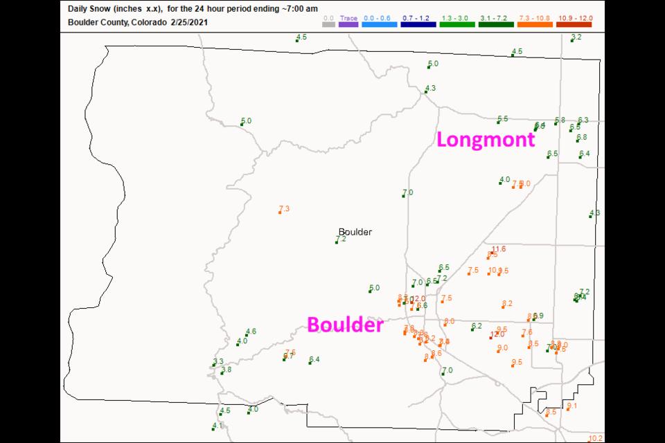 Figure 4 update: CoCoRaHS snow totals as of 7am Thursday.