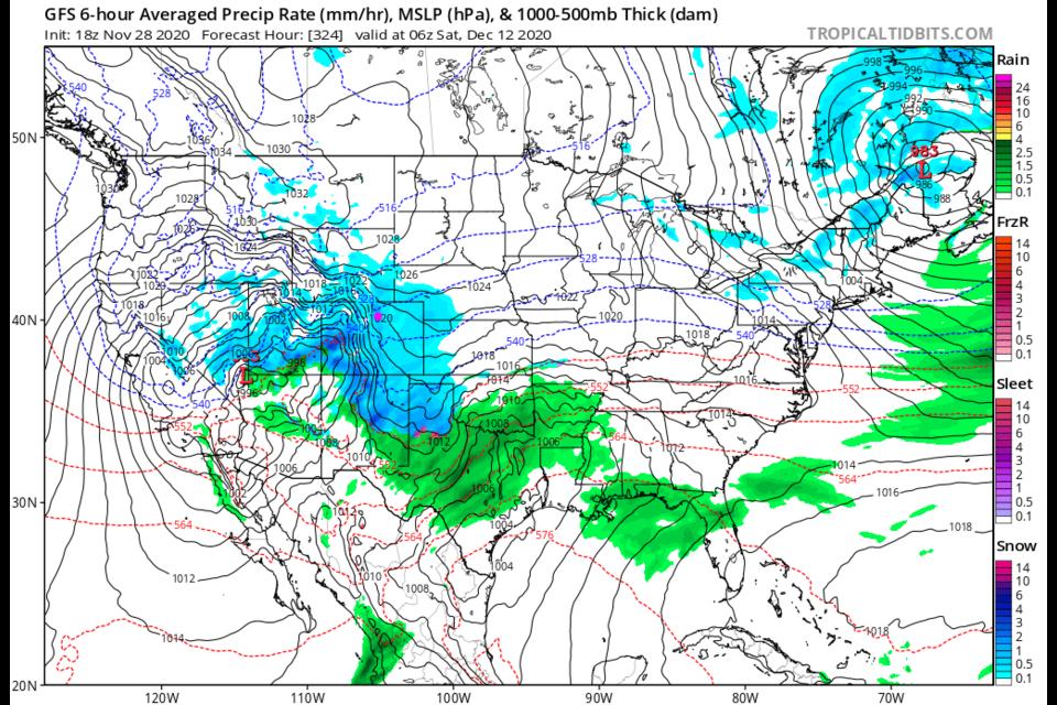 Figure 5: The six-hour averaged precipitation around Dec. 12 from the GFS and tropicaltidbits.com