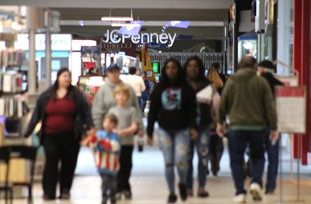 Shoppers filled one of Eastwood Mall's main concourses on Tuesday, May 12, 2020, the first day retailers were allowed to reopen under relaxed state restrictions. (Justin Dennis | Mahoning Matters)