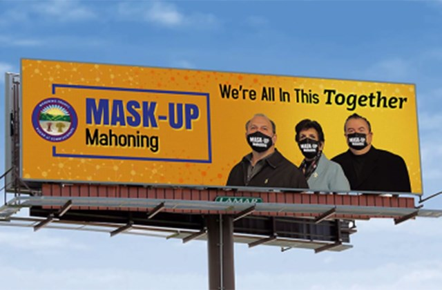 """This is a mock design for a billboard ad featuring the """"Mask Up Mahoning"""" public health advisory from Mahoning County commissioners, shown during a Thursday, Nov. 19, 2020 commissioners meeting. (Photo provided)"""