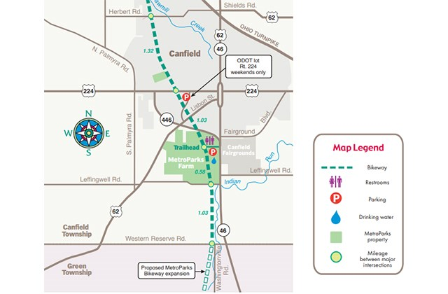 This map shows part of the Mill Creek MetroParks Bikeway route, about 6.4 miles of which remains unfinished in Mahoning County, pending the outcome of several ongoing eminent domain lawsuits.