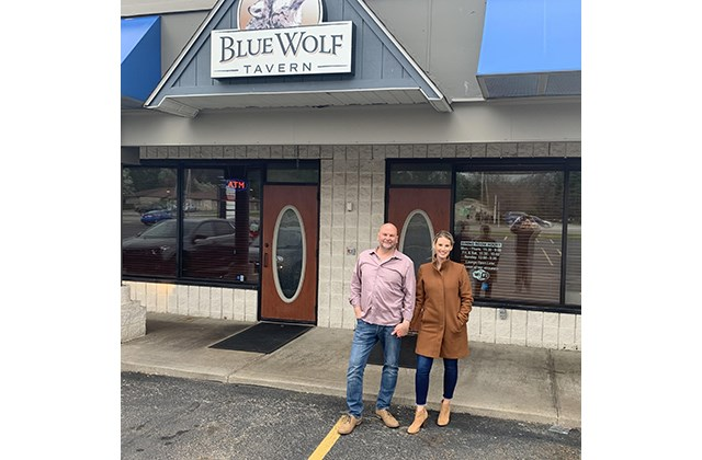 Joe Rzonsa, owner of Blue Wolf Tavern in Boardman (left) and his wife, Stacey Rzonsa, director of Blue Wolf Events.
