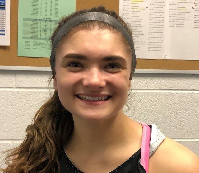 """Poland senior Brooke Bobbey is the """"total package,"""" Nick Blanch, girls varsity basketball head coach, said. """"She's going to be a valedictorian. She has a 4.0 [grade-point average]. She's going into pre-med. She's got a ride to St. Bonaventure, not only [to study] pre-med, but [to play] Division I college softball."""" (Photo by Tom Williams)"""