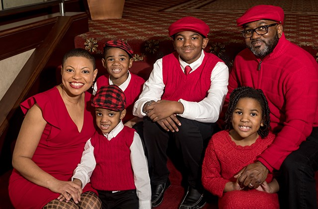 Sheletta Brundidge, left, and husband Shawn Brundidge, top right, pose with their four children. (Photo provided)