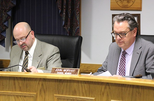 Canfield councilman Anthony Nacarato, left, and two other council members on Wednesday voted against an ordinance that would have allowed indoor gun ranges in the city. Council President John Morvay, right, cast the only affirmative vote. (Justin Dennis | Mahoning Matters)