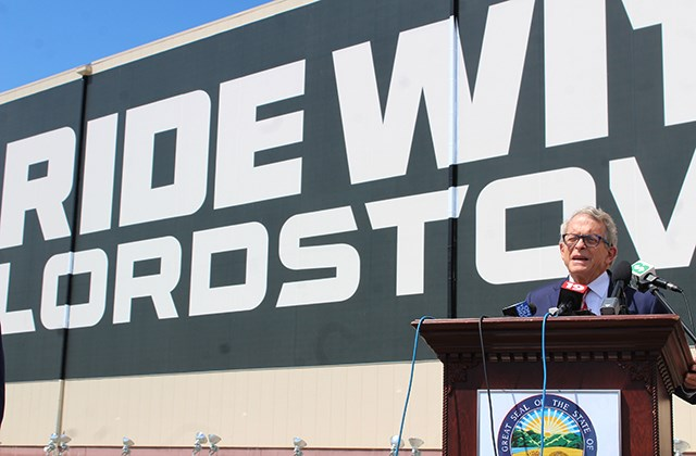 Gov. Mike DeWine speaks outside Lordstown Motor Corp.'s Hallock Young Road plant on Wednesday, June 24, 2020. (Justin Dennis | Mahoning Matters)