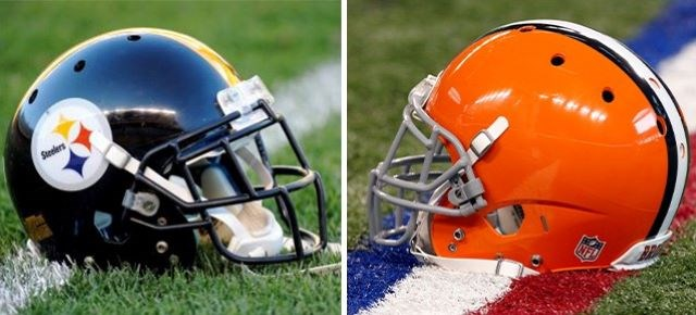 Browns and Steelers helmets