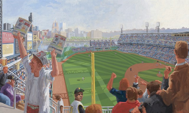 """""""PNC Park, Pittsburgh"""" is one of the pieces in the """"Max Mason: Painting the Game"""" exhibition, which will open at noon Sunday at The Butler Institute of American Art in Youngstown. (Contributed image)"""