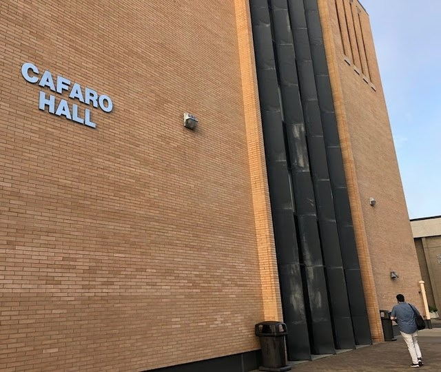Youngstown State University's Lincoln Hall has been renamed Cafaro Hall on the corner of Phelps Street and Lincoln Avenue.