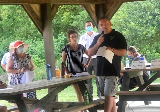 """Canfield Police Chief Chuck Colucci discusses """"Diversity, Policing and Progress"""" in Canfield at a community forum Thursday. (Jess Hardin   Mahoning Matters)"""