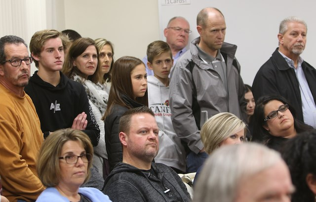 District parents packed the Canfield Schools board meeting room on Nov. 20, 2019 for the first regular meeting since a recently released investigation suggested district officials purposely misled the public about a Sept. 12 threat of gun violence. (Bob Yosay)
