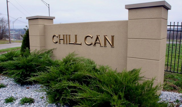 Sign for the Chill-Can plant in Youngstown. Three buildings have been constructed, but there is no production in the buildings. (Bob Yosay | Mahoning Matters)
