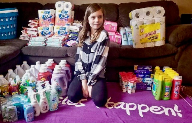 Sophia's Essential Supplies was started by 12-year-old Sophia Capron of Beloit,a sixth-grader at West Branch Middle School. Sophia donates baskets of essential items to people who need assistance during the COVID-19 pandemic.(Photo provided)