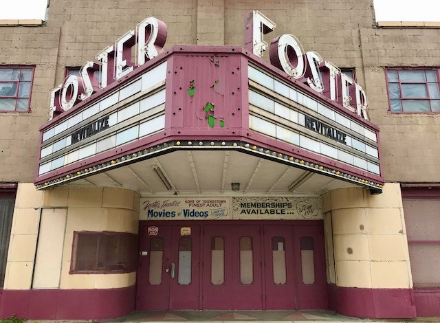 """When YNDC purchased the Foster Theatre, the organization changed the marquee to read, """"Revitalize."""" (Robert K. Yosay/Mahoning Matters)"""