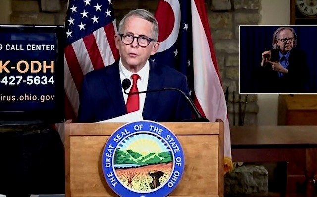 Gov. Mike DeWine during the state's coronavirus update on Tuesday, Oct. 20, 2020.