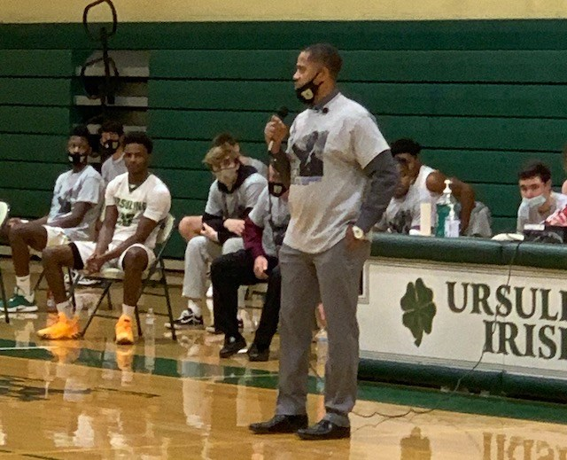 Ursuline High School boys basketball coach Keith Gunther addressed student-athletes and families at  the I Have A Dream, Martin Luther King Day tournament Monday night. (Provided by  Carolyn Korenic)