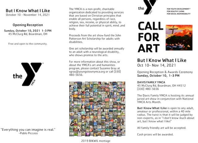 YMCA art show brochure