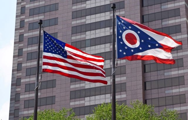 Ohio and US flags