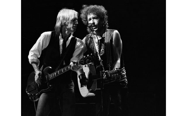 "This photo, ""Tom Petty and Bob Dylan at Greek Theater, Berkeley, CA,"" was taken by photographer Larry Hulst on June 13, 1986. (Contributed image)"