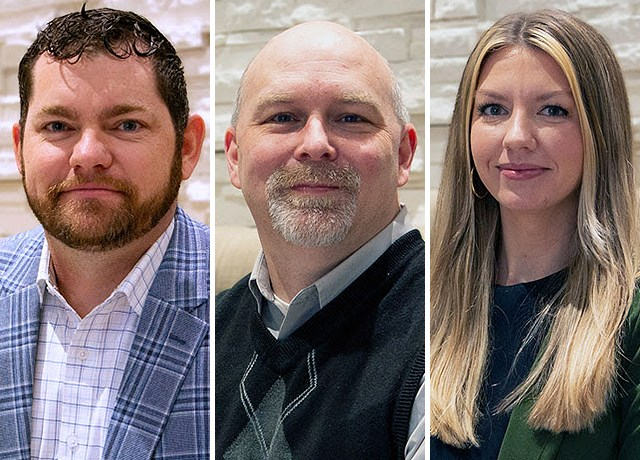 PALO Creative recently hired three new employees. They are, from left, Troy Ledbetter, Eric Hamilton and Kayla Statema. (Contributed photos)