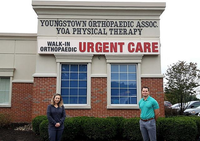 Youngstown Orthopaedic Associates' Giavanna Tkach, nurse practitioner, and Dr. Anthony Berdis, orthopaedic surgeon, are among the staff at the group's new orthopaedic urgent care center in Warren. (Contributed photo)
