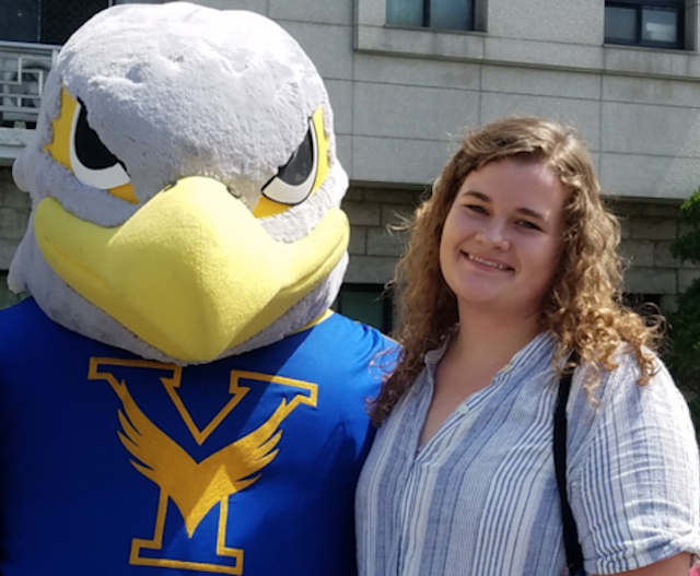 YSU student and newly-named Fulbright Scholar Emily Henline stands with the mascot for Yonsei University in South Korea in 2017. (Youngstown State University)