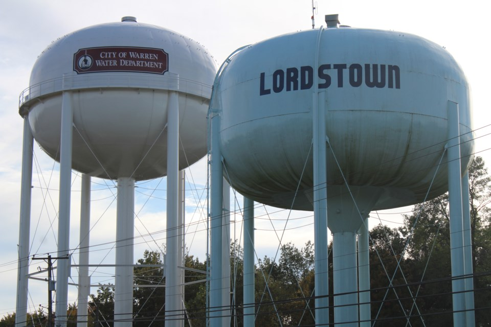 Shown here are neighboring water towers for the Village of Lordstown and the City of Warren, which are part of the water system that feeds General Motors Lordstown Assembly Complex.