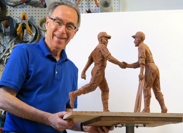 Connecticut sculptor Marc Mellon recently created a rough early study of the Robinson-Shuba statue. Plans call for the Jackie Robinson and George Shuba likenesses to stand nearly 7 feet tall in the actual statue planned for downtown Youngstown. (Contributed photo)